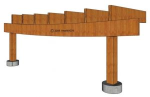 Sagging deck beam: wood species, span, and/or dimension incorrect.