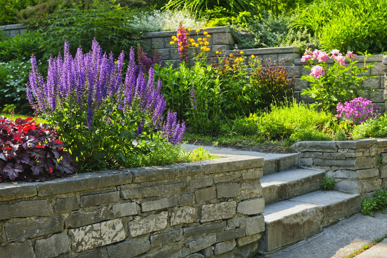 Garden with stone landscaping services